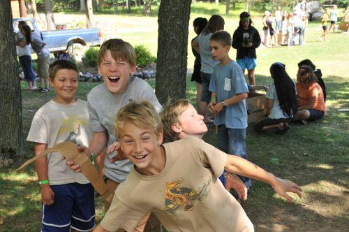Boys acting goofy at Cardboard Regatta